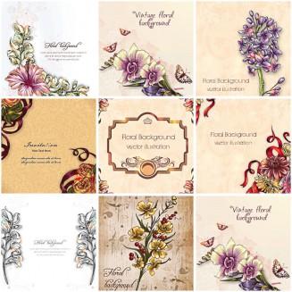 Floral vintage spring set vector