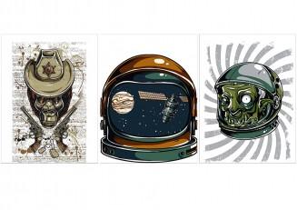 Demons in astronaut helmet t-shirt print vector set