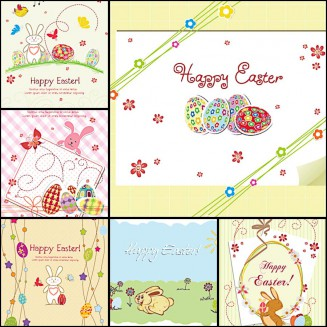 Easter greeting card rabbit set vector