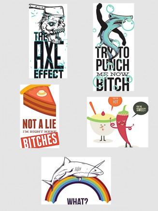 Funny comic t-shirt prints set vector