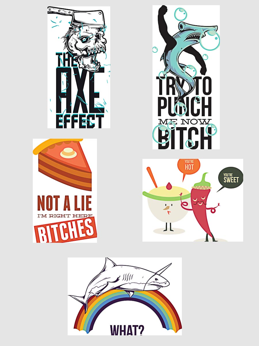 Funny comic t-shirt prints set vector