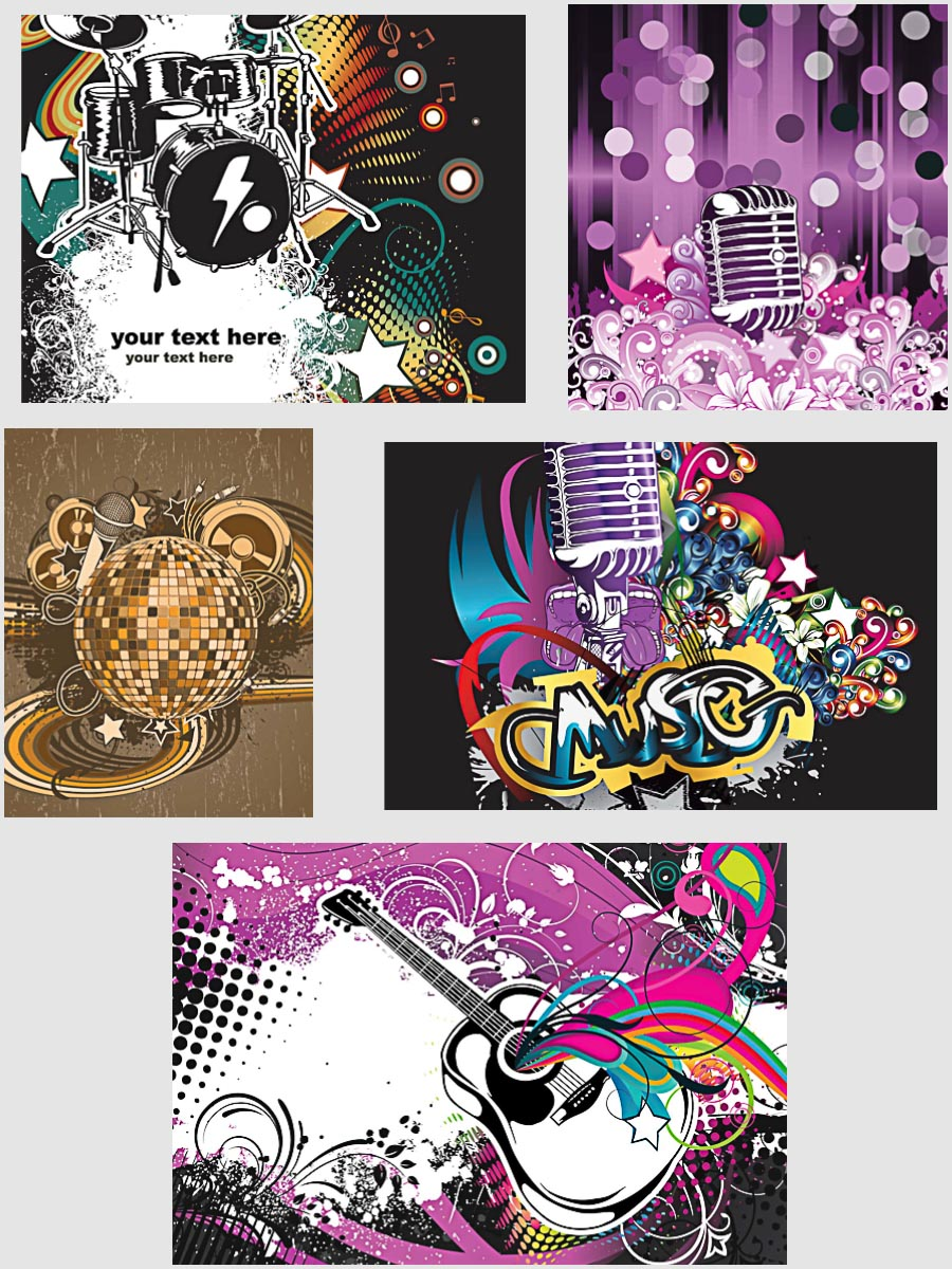Party disco ball music poster set vector