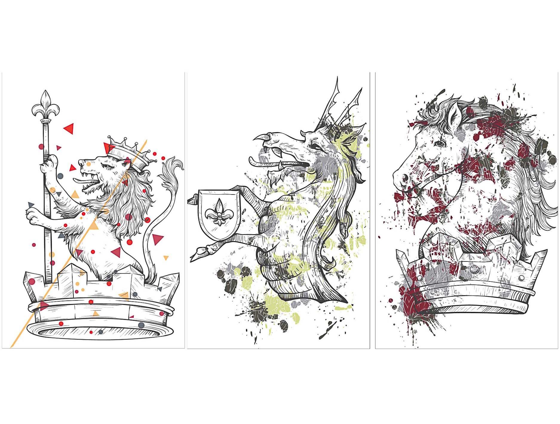 Heraldic crown and horses t-shirt print set vector