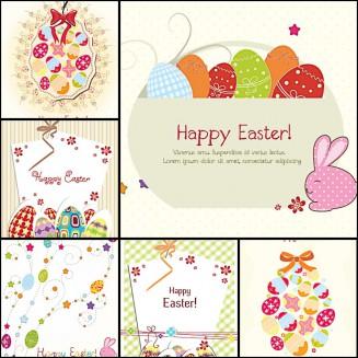 Lovely Easter greeting card ornate pattern set vector