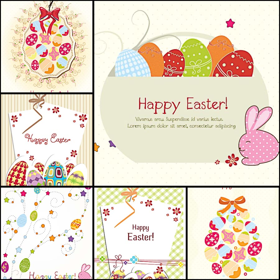Lovely Easter greeting card ornate pattern set vector