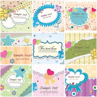 Lovely spring pastel frame card set vector