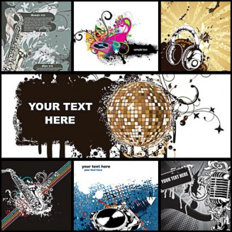 Music poster dark background set vector