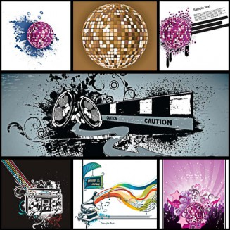 Disco music flyer set vector