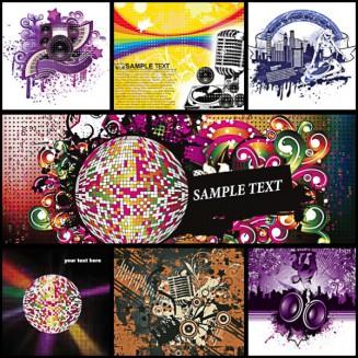 Music templates disco set vector