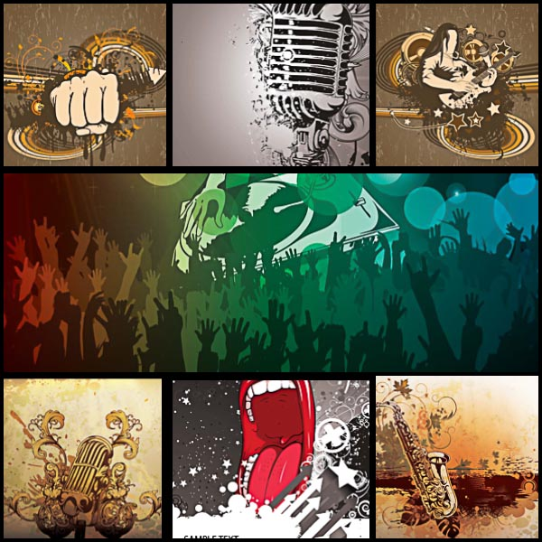 Music hard rock poster set vector