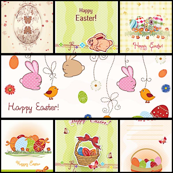 Rabbits and decorative eggs Easter postcard set vector