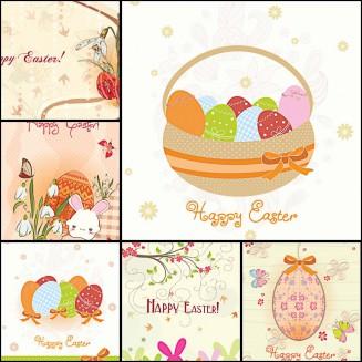 Easter cute decorative eggs vector