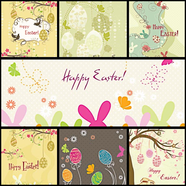 Easter postcard floral set vector