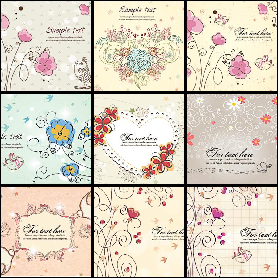 Pink floral hearts invitation set vector