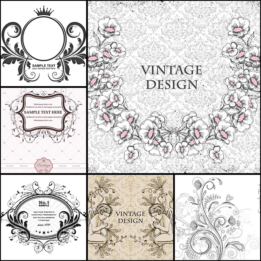 Wreaths floral vintage invitation set vector