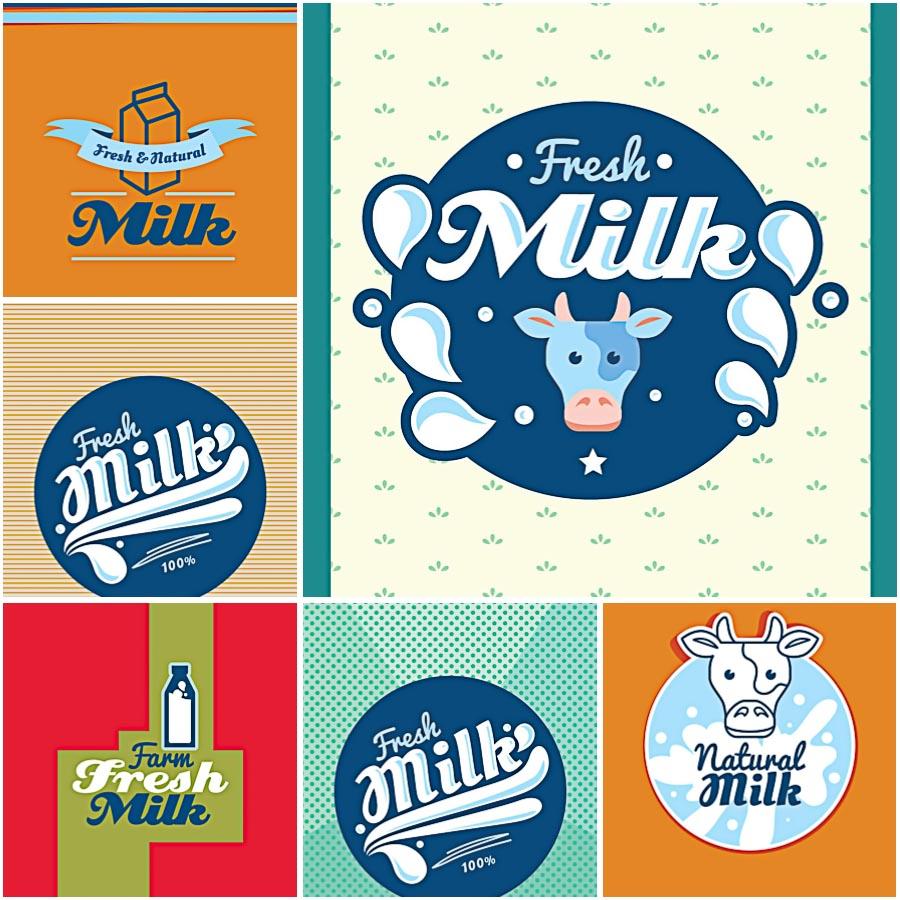 Milk label bright set vector