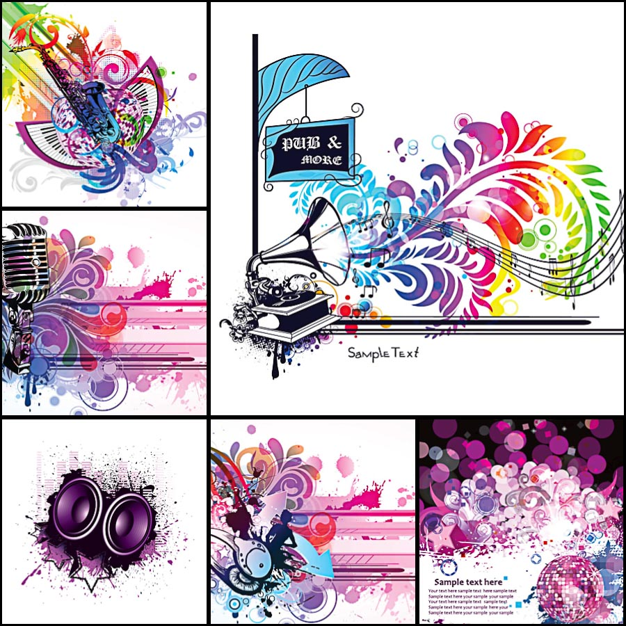 Music bright backgrounds set vector