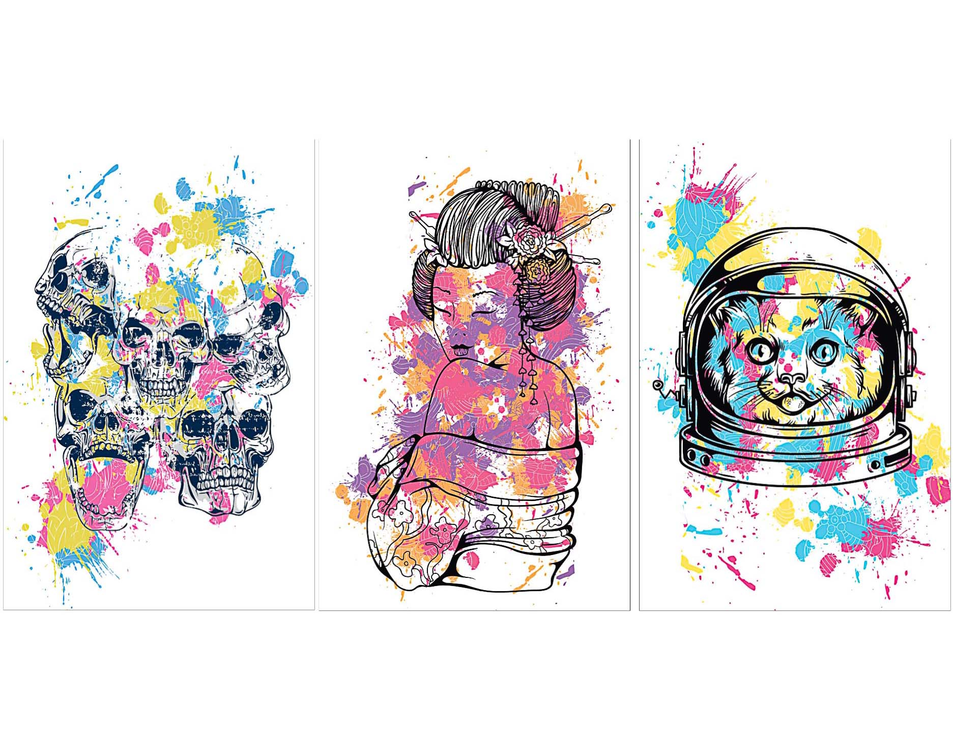 Cat astronaut t-shirt print set vector