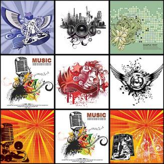 Music grunge elements set vector