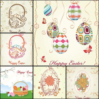 Cute Easter greeting card set vector