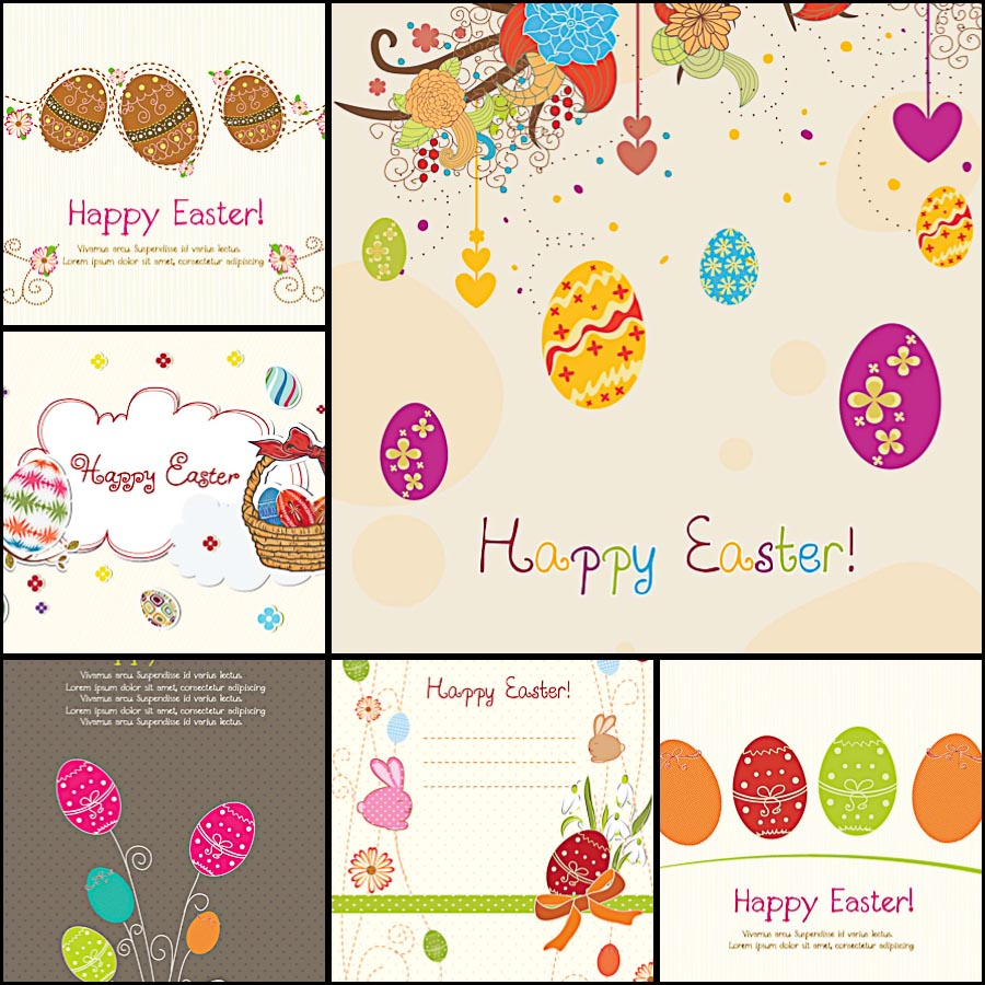 Easter greeting card with decorative modern ornaments set vector
