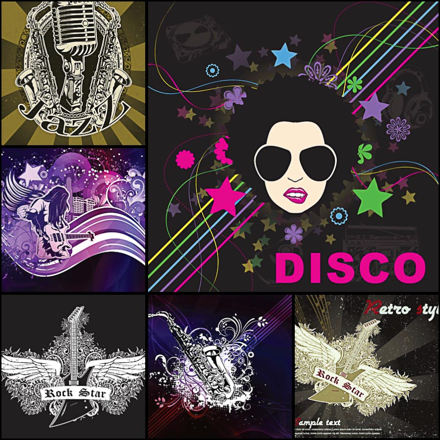Music vivid background disco set vector
