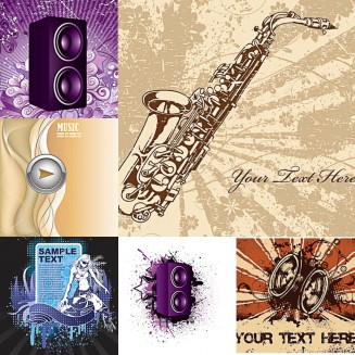 Music elements background set vector
