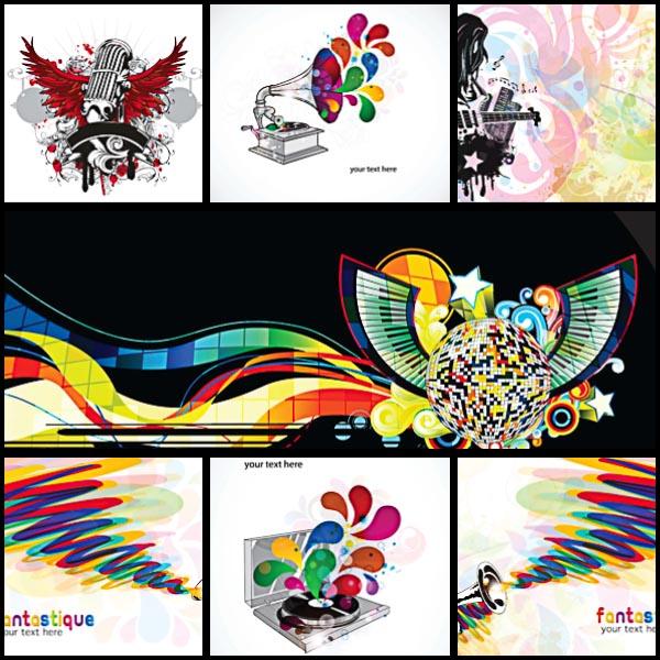 Saxophone music bright poster set vector