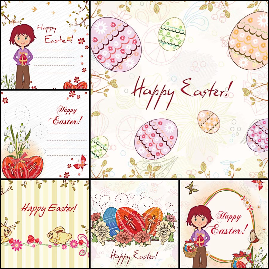 Easter background decorative eggs set vector