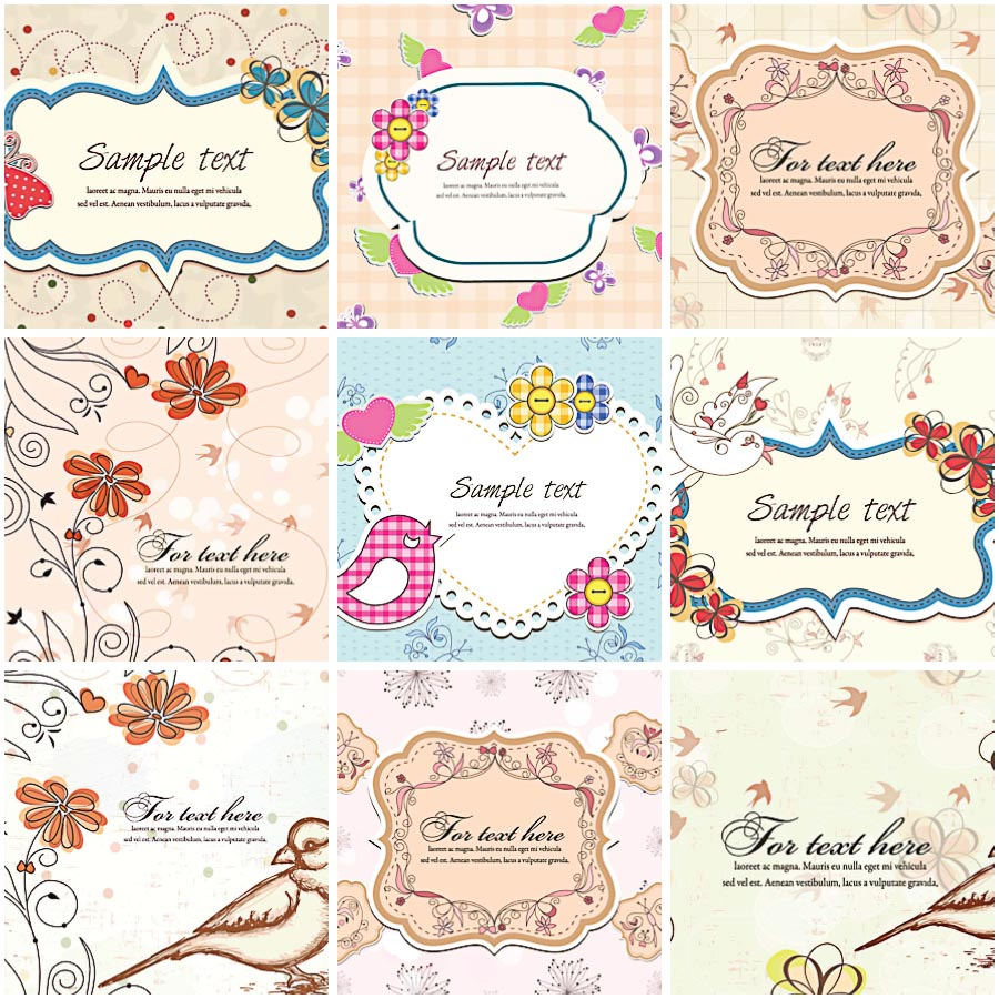 Vintage spring pastel frames invitation set vector