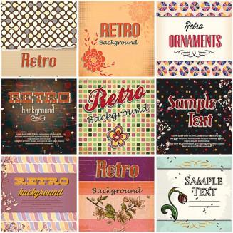 Retro ornaments polka dot set vector