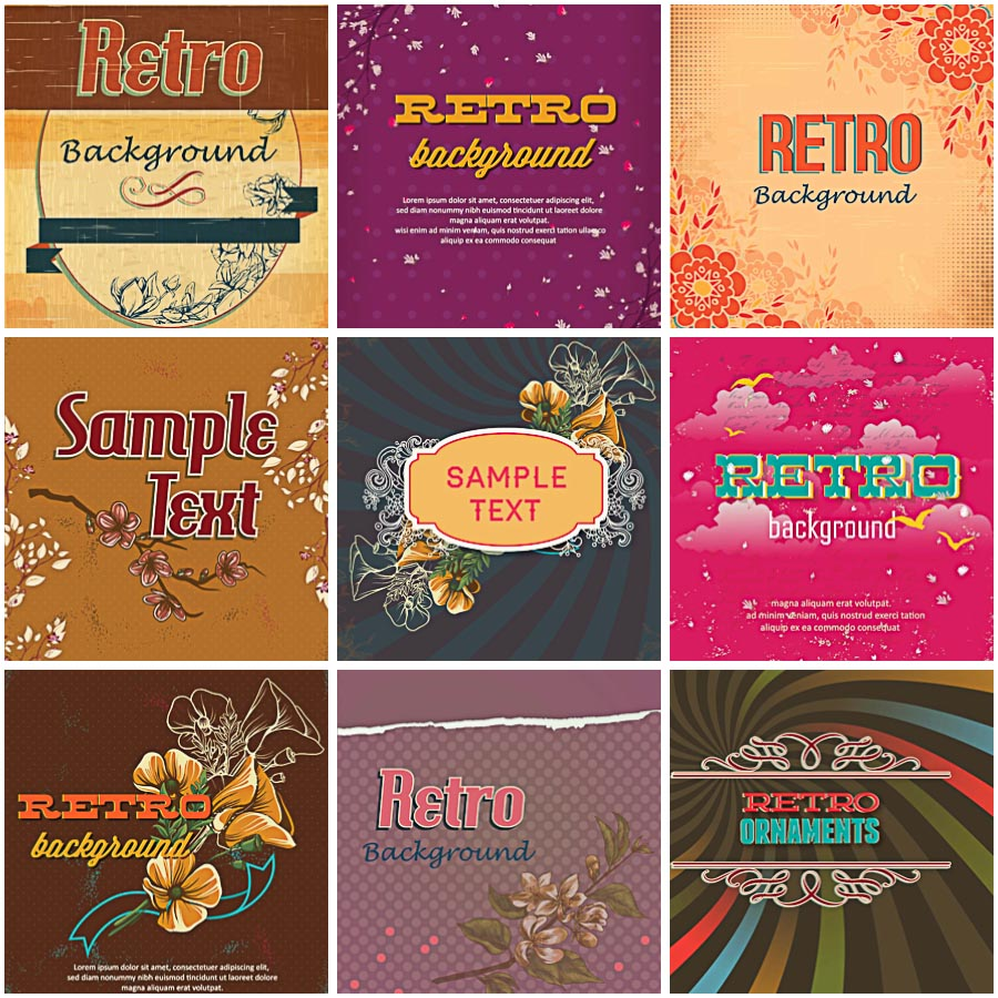 Retro ornament brown set vector