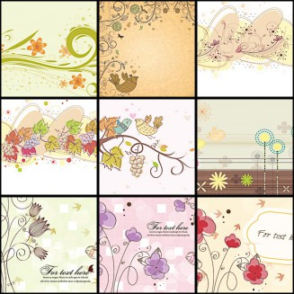 Pastel backgrounds spring set vector