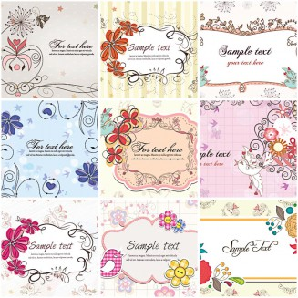 Lovely spring floral frames invitations set vector