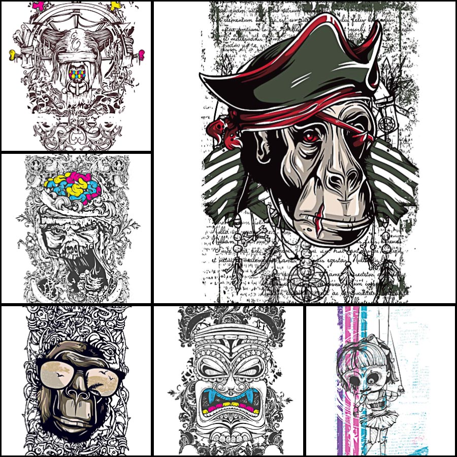Printing t-shirt with grunge demons and apes free set vector