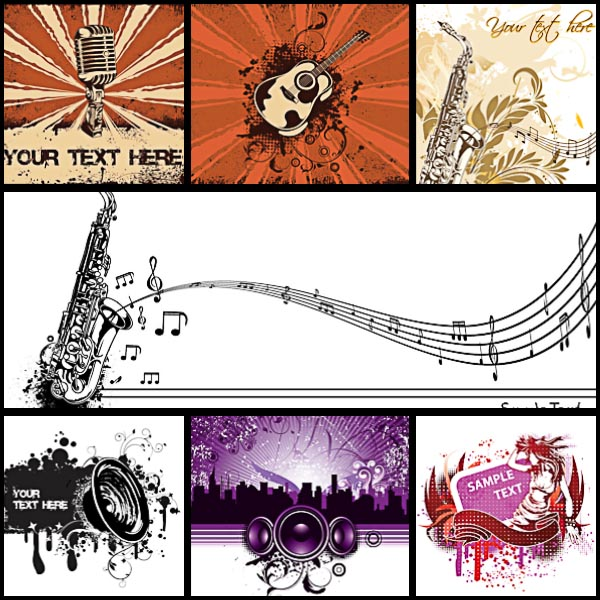 Vivid music backgrounds notes and treble clef set vector