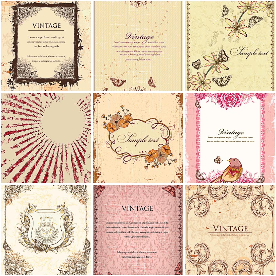 Retro floral invitations with butterflies set vector