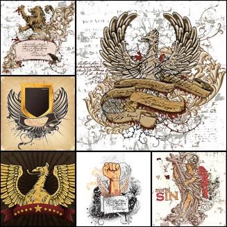 Retro heraldic wings lion set vector