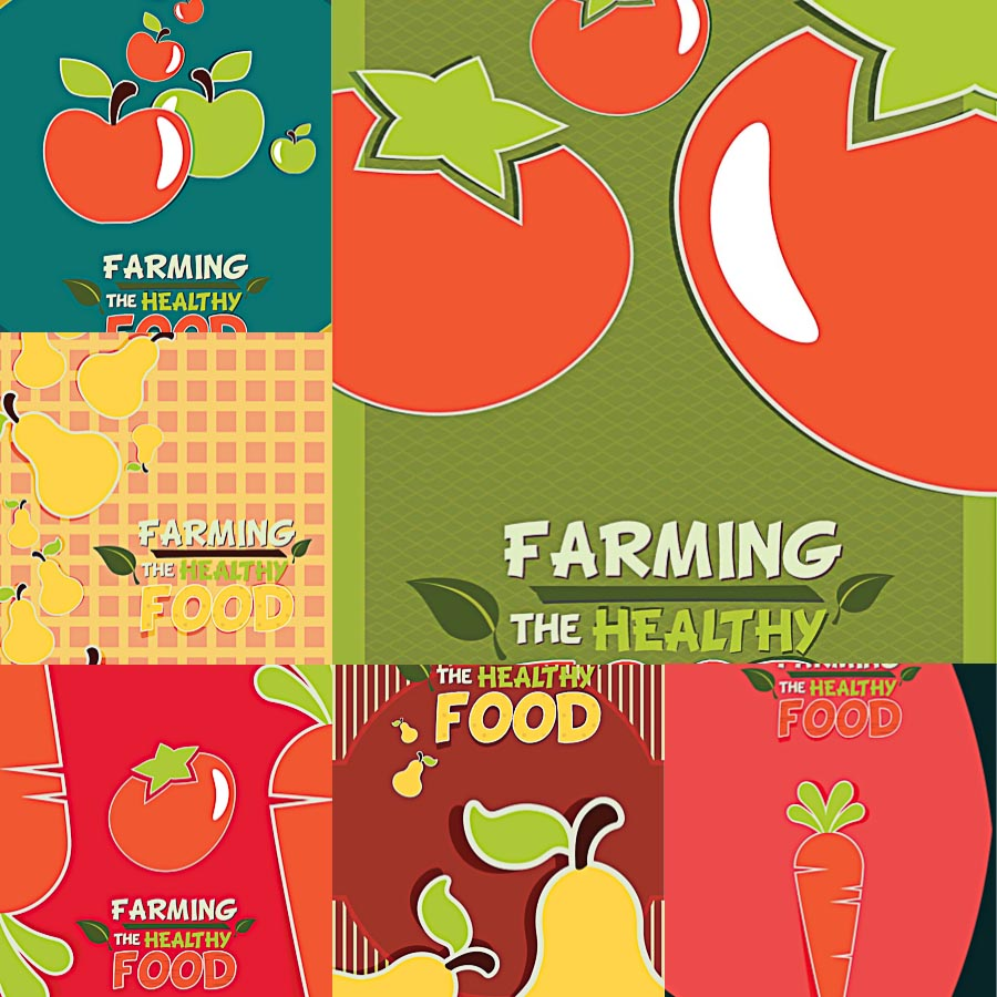 Fruits and vegetables farming template set vector