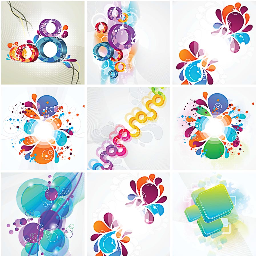 Backgrounds with abstrackt floral ornament set vector