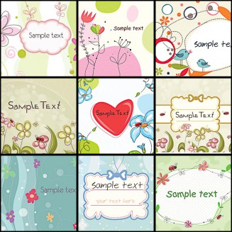 Floral background cartoon set vector