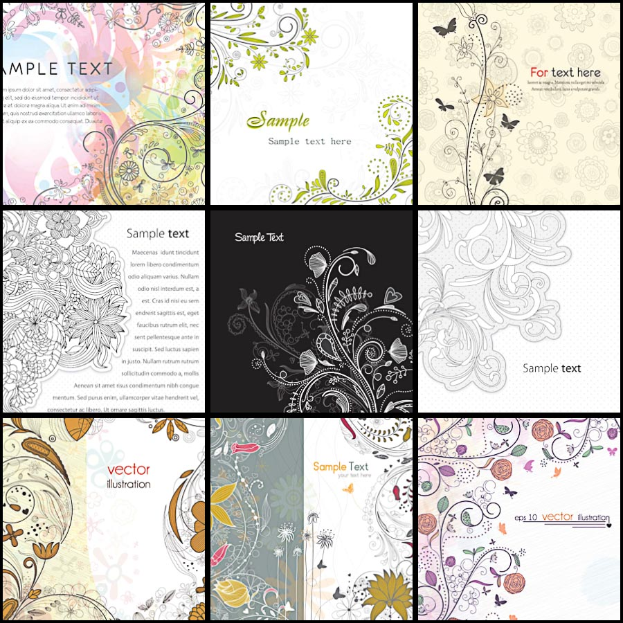 Ornate floral swirls frame set vector