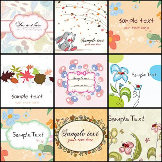 Spring abstract frames set vector