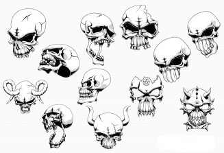 Skull illustration angry set vector