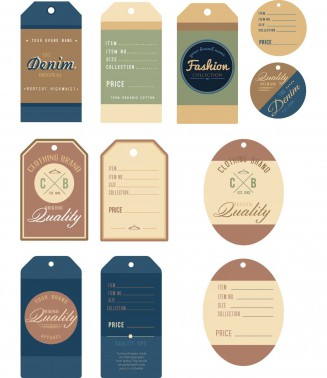 Clothes tag denim jeans set vector