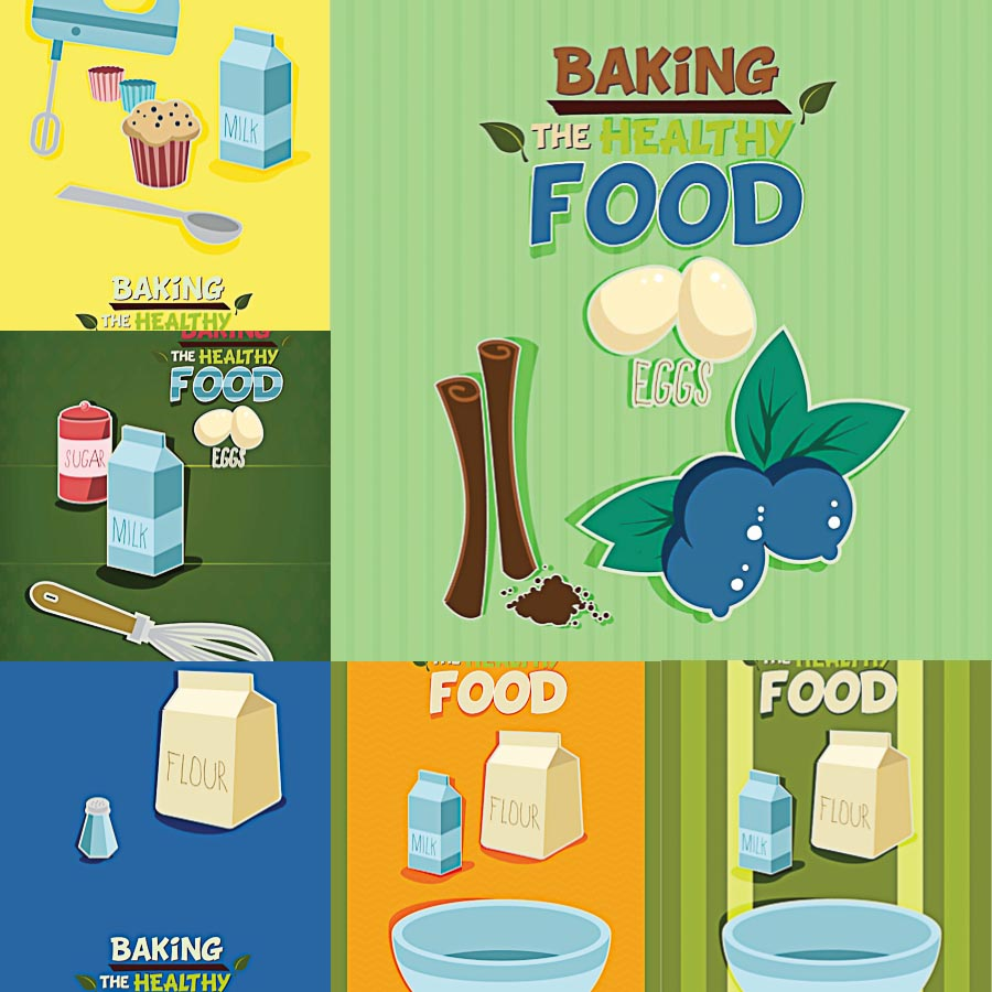 Food baking template recipe set vector