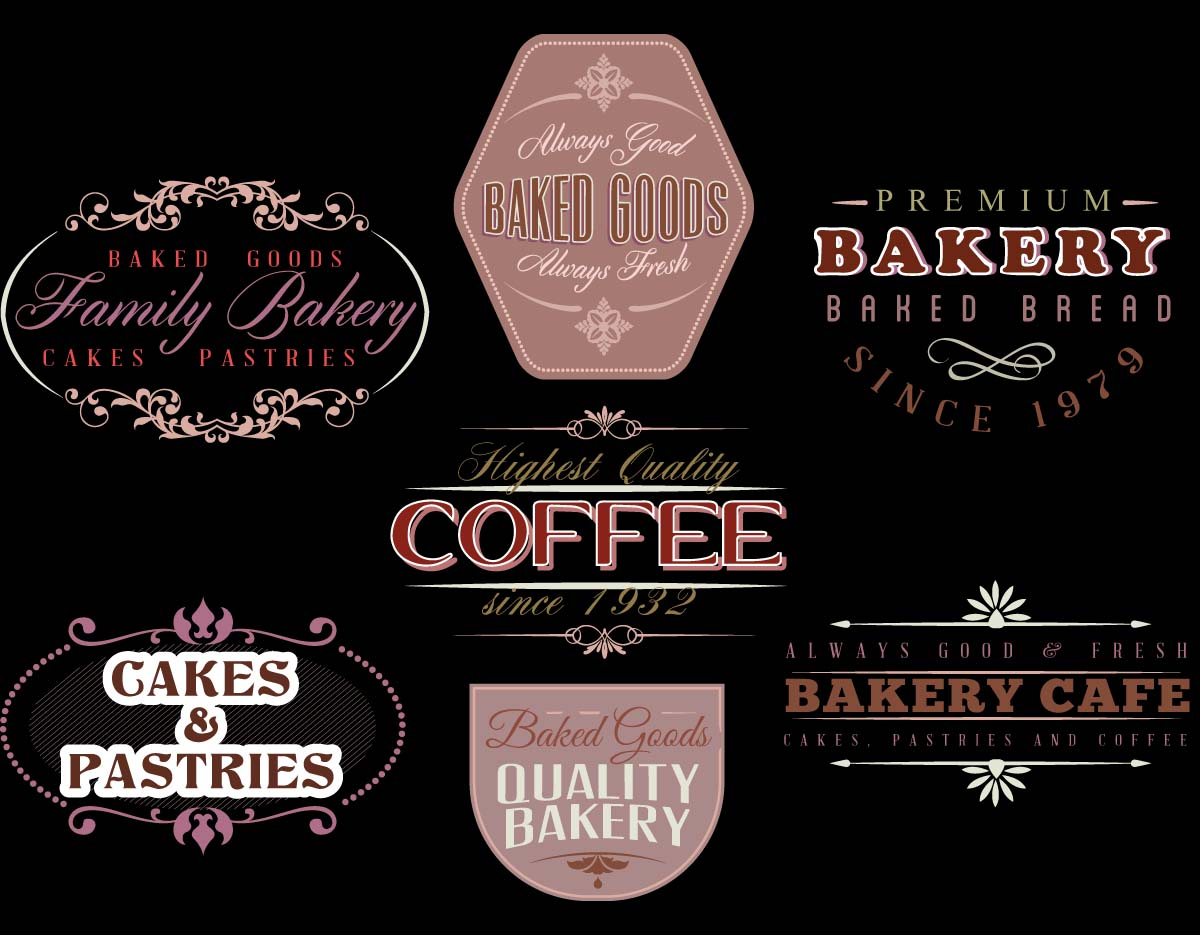 Coffee and cake bakery logo set vector