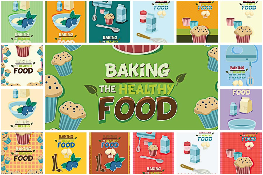 Healthy food baking set vector