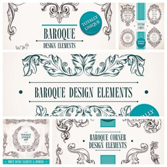Decorative baroque elements set vector