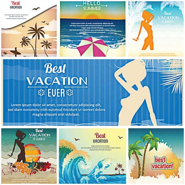 Best vacation card summer holidays set vector